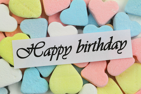 Happy Birthday Card On Colorful Candy Stock Photo Picture And