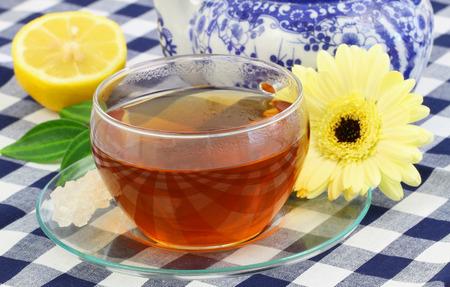 Cup of tea, lemon and cream gerbera daisy photo