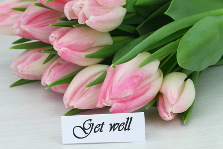 ink well: Get well card with pink tulips