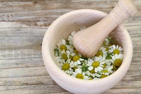 Chamomile flowers in wooden mortar with copy space photo