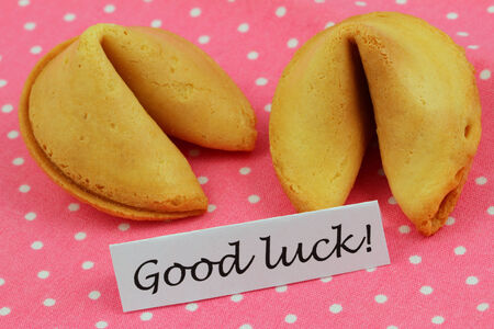 Good luck card with fortune cookies photo
