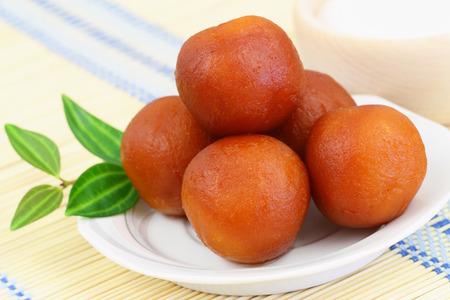 pakistani food: Gulab jamun dessert, closeup Stock Photo
