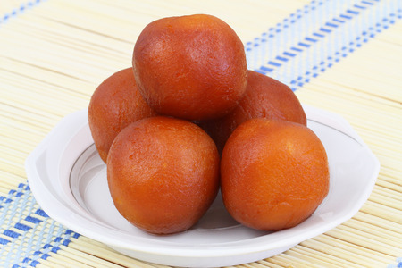 Gulab jamun dessert, closeup Stock Photo