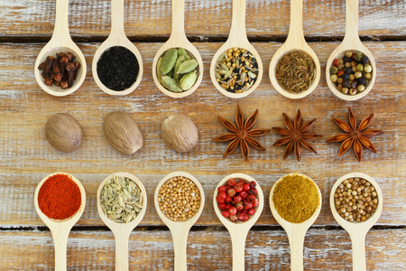 chili powder: Selection of Indian spices on wooden spoons