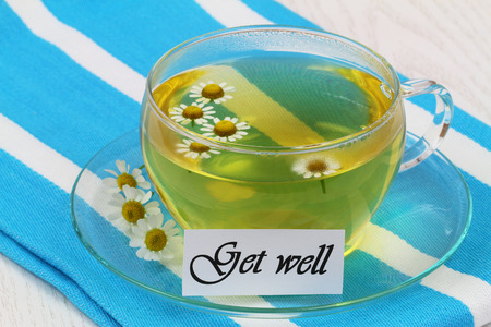 Get well card with cup of chamomile tea photo