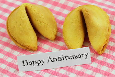 Happy Anniversary card with fortune cookies photo