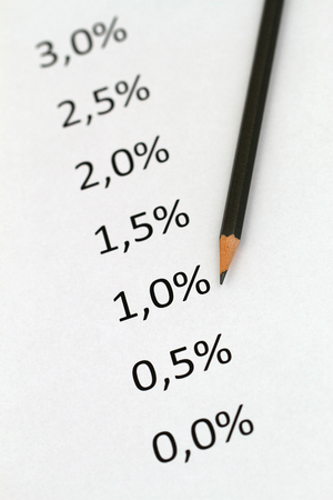 interest rates: Interest rates listed on piece of paper and pencil Stock Photo