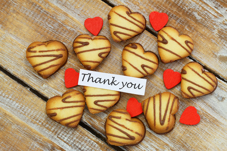 scattered in heart shaped: Thank you card with heart shaped cookies