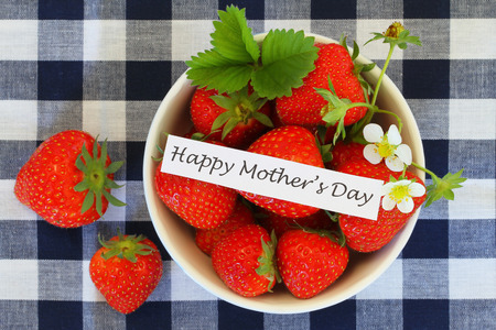 Happy Mother\'s Day with bowl of strawberries