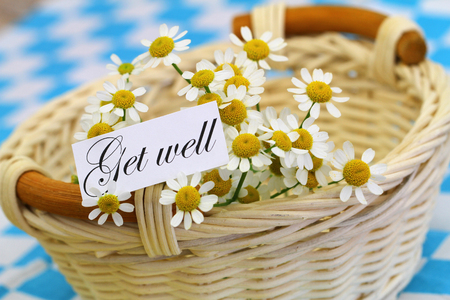 get well: Get well card with chamomile flowers in wicker basket Stock Photo