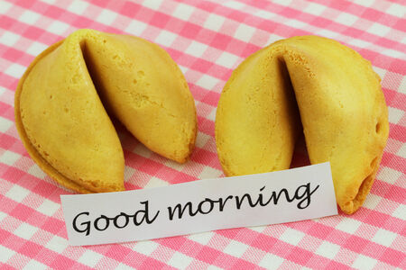 Good morning card with fortune cookies photo
