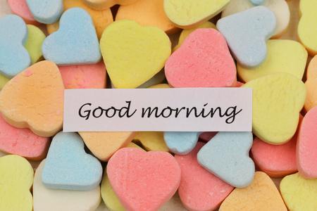 good morning: Good morning card with colorful sugar hearts