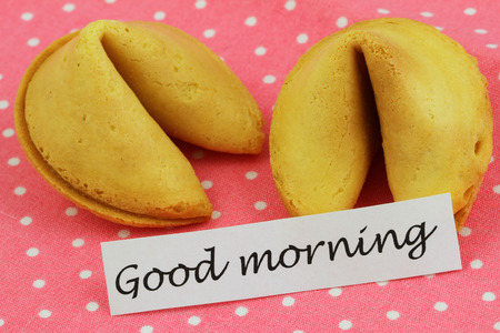 good morning: Good morning card with fortune cookies