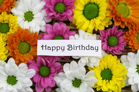 Happy Birthday card with colorful Santini flowers