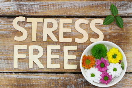 stress free: Stress free written with wooden letters on rustic wooden surface with colorful Santini flowers