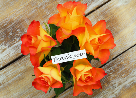 thanking: Thank you card with bouquet of roses