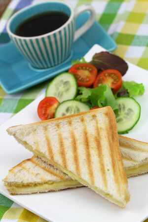 english cucumber: Toast with cheese and ham closeup Stock Photo