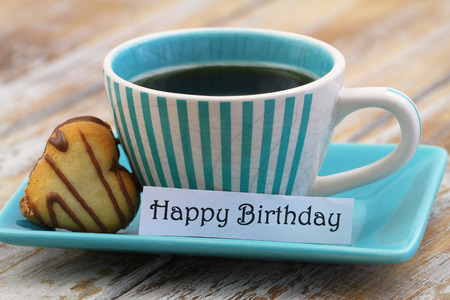 Happy Birthday Card With Cup Of Coffee And Heart Shaped Cookie Stock