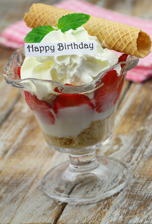 trifle: Happy birthday card with trifle dessert