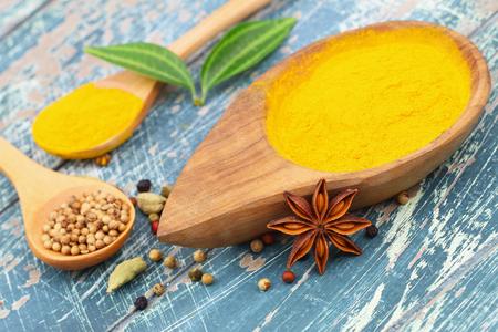 cardamon: Tumeric powder star anise cardamon and coriander seeds