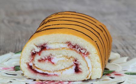swiss roll: Strawberry Swiss roll closeup