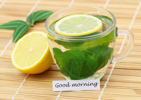 good morning: Good morning card with mint tea and lemon