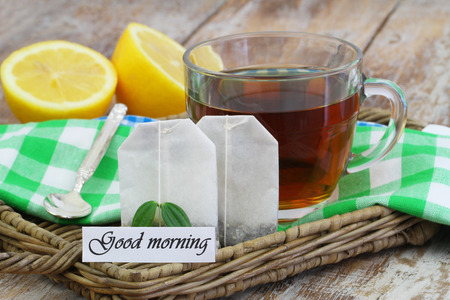 good: Good morning card with cup of tea Stock Photo