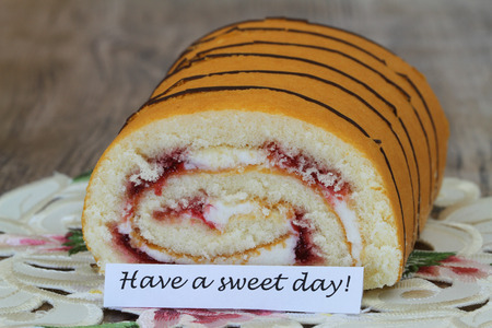swiss roll: Have a sweet day card with strawberry swiss roll