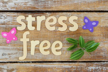 stress free: Stress free written with wooden letters on rustic surface