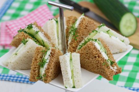 english cucumber: Cream cheese and cucumber sandwiches