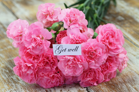 get well: Get well card with pink carnations