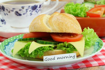 salade verte: Good morning card with cheese roll, coffee and green salad Banque d'images