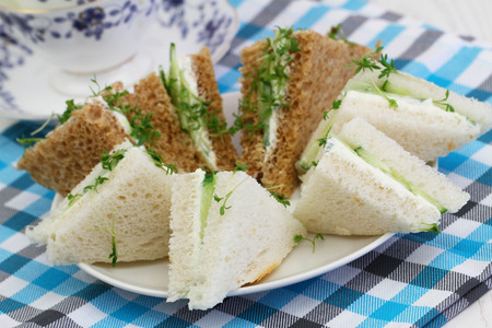 english cucumber: White and brown cream cheese and cucumber sandwiches on checkered cloth