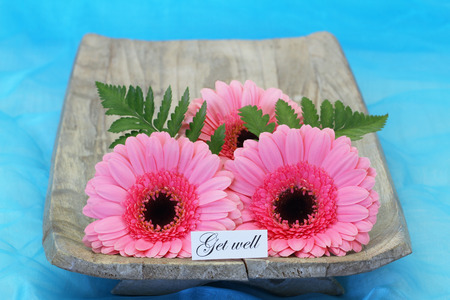 get well: Get well card with pink gerbera daisies Stock Photo