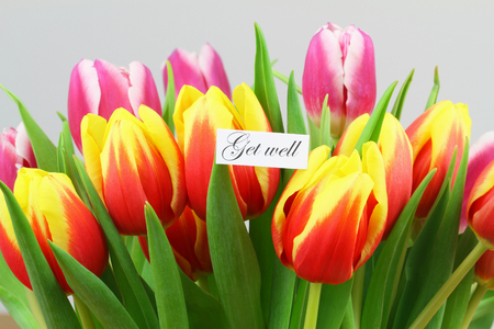 get well: Get well card with colorful tulips Stock Photo