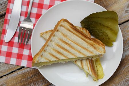 gherkin: Toasted cheese sandwich with gherkin on white plate Stock Photo