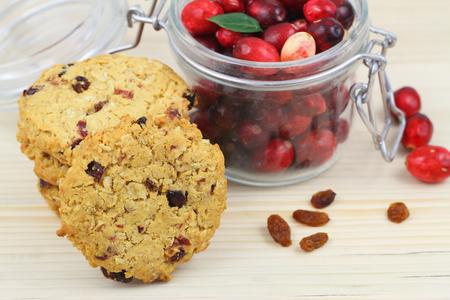 arandanos rojos: galletas crujientes con arándanos Foto de archivo