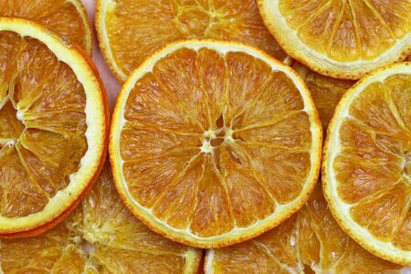 dried orange: Dried orange slices, close up
