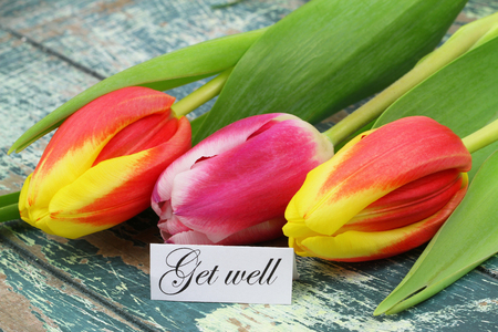get well: Get well card with colorful tulips on rustic wooden surface