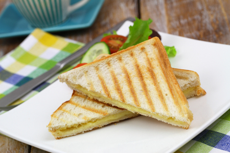 Toasted bread with melted cheese and green side salad on white plate