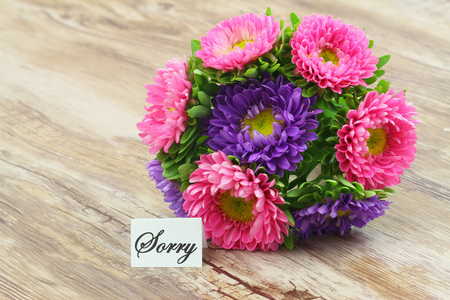 Sorry card with colorful daisy bouquet on wooden surface