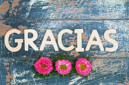 Gracias (which means thank you in Spanish) written with wooden letters and pink daisies Stock Photo