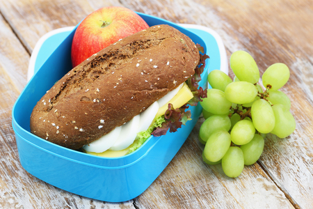 Healthy lunch box containing brown roll with cheese and hard boiled egg and lettuce, red apple and grapes on rustic wooden surface