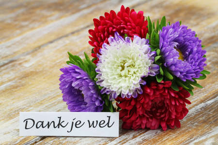 Thank you (which means thank you in Dutch) card with colorful aster flower bouquet on rustic wooden surface Stock Photo