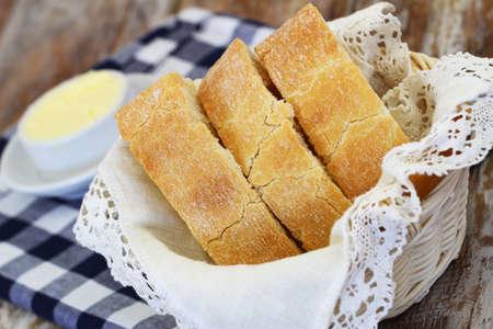 Slices of ciabatta in bread basket, closeup