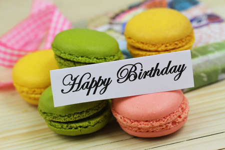 Happy Birthday card with colorful crunchy macaroons Stock Photo