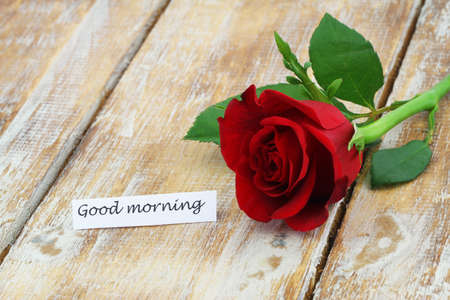 Good morning card with red rose on rustic wooden surface