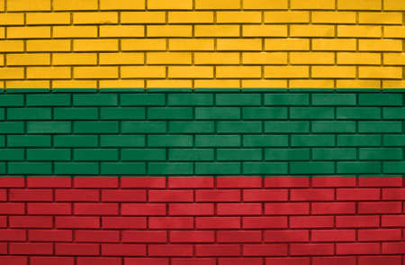 Flag of Lithuania on brick wall photo