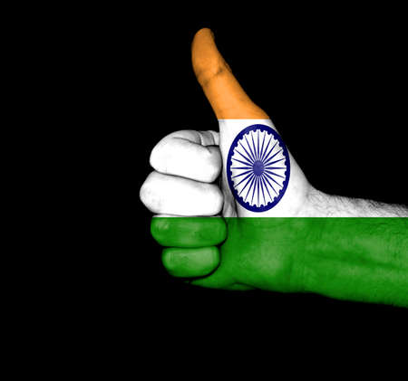 Flag of India on hand photo