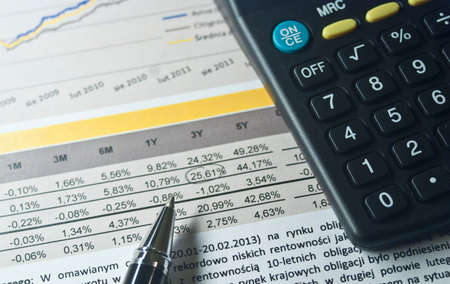 payroll: Charts profits of financial products and accessories Stock Photo